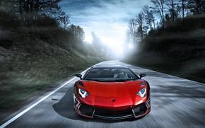 ламборджини, ламборгини, авентадор, красный, скорость, дорога, блик, Lamborghini
