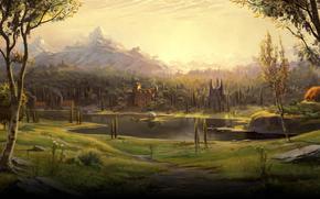 dessin, hameau, lac, fort, arbres, Montagnes