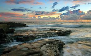 mar, puesta del sol, paisaje