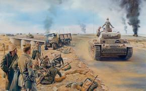 German, Medium Tank, Africa, war, Soldiers, picture