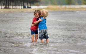 девочка, мальчик, море, настроение