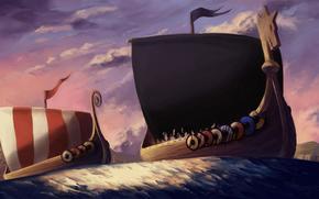 арт, корабли, паруники, щиты, плавание, море, полосы, берег, ветер, викинги