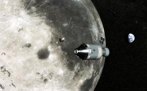 luna, tierra, Estrella, enviar, estacin, superficie