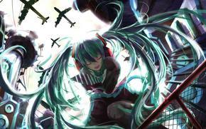 Art, Vocaloid, omy hatsnue, girl, aircraft, sky, tie, fence, building