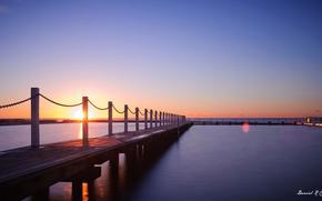 码头, 黄昏, 日落, 海