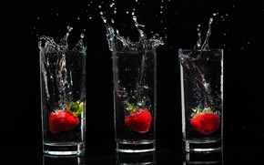 Black, background, glasses, Stanley, water, drops, spray, Berries, strawberry, food