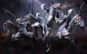 Riders, Skeletons, Horses, braid, sword, onion, rain, forest