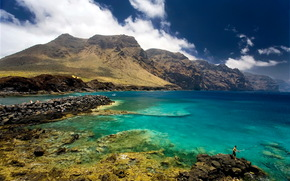 tenerife, Spain, Mountains, stones, sea, sky