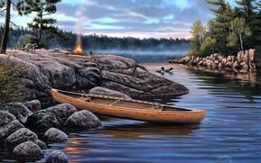 живопись, утро, туман, река, камни, лодка, костер, животные, утки, енот, еноты