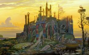 Vsevolod Ivanov, Tempio sul lago, Old russo, Pittura slavo, rkssky folklore, tramonto, sole, sambuco, magio, lago, Ladoga, Cicogne, martinetto