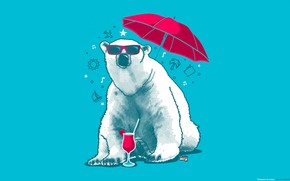 bear, glasses, umbrella, drink, recreation, summer, mood, palm, strawberry