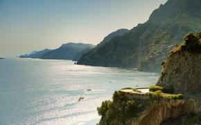 publicidad, Italia, mar, caer, Hills, Montaas, paisaje, Naturaleza