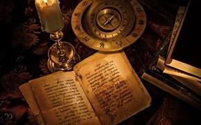 candela, libri, bussola, segni dello zodiaco, iscrizione, harry potter