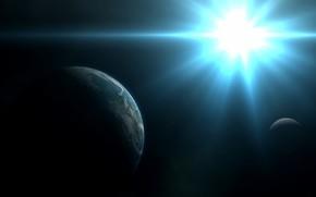 Art, space, planet, satellite, star, bright, White