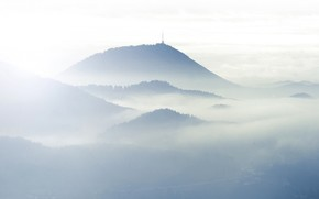Mountains, Hills, fog, clouds, light, antenna