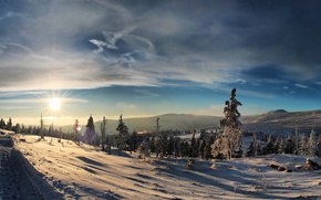 Winter, snow, forest, Mountains, frost, sunset