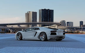 ламборгини, авентадор, белый, вид сзади, небо, эстакада, Lamborghini