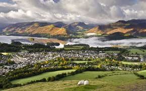 town, home, Sheep, grass, river, Hills, clouds
