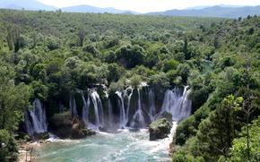 деревья, лес, водопад, вода, горы