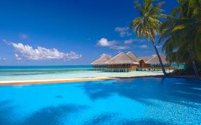 море, пальмы, небо, пейзаж