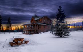 зима, снег, домик, лавочка