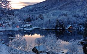 озеро, домики, горы, деревья, закат