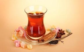 tea, cinnamon, anise, candied fruit, welding, spoon