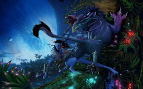 Avatar, Na'vi, Neytiri, girl, Huntress, ATTACK, predator, Star, night