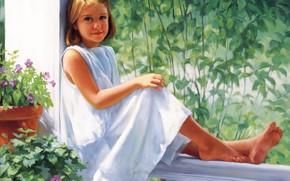 Miejsca siedzce, adny, dziewczyna, kwiaty, malarstwo