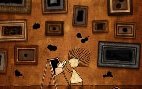 disegno, ragazza, immagine, Spot, freccia, capelli