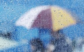 разное, стекло, капли, вода. дождь, зонтик, фон, обои