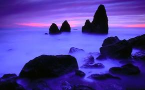 камни, скалы, горизонт, синий, берег