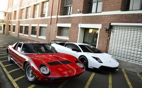 ламборгини, мурсиэлаго, белый, микра, красный, вид спереди, здание, окна, ролеты, Lamborghini