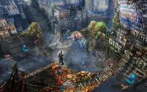 арт, город, руины, монстры, мост, заброшенность, толпа, человек