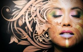 арт, лицо, девушка, узор, цветы, макияж