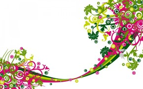 дизайн, вектор, цветы, линии, белый фон