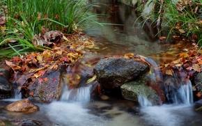 vodapad, torrente, pietre, paesaggio