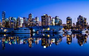 vancouver, Canada, night city, Skyscrapers, ocean, wharf, Yacht, canada, vancouve