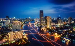 バンコク, タイ, 夜の街, バンコク, 点灯, 交通信号灯
