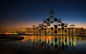 harumi wharf, Tokyo, japan, Tokyo, Japan, bridge, reflection, night city