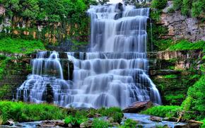 водопад, камни, скалы, пейзаж