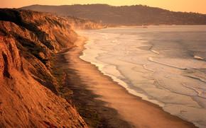 море, закат, океан, волны, пена, небо, берег