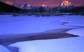 снег, зима, ручей, горы