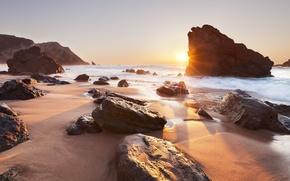 praia da adraga, sintra, portugal, Португалия, океан, закат, скалы