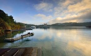 река, пейзаж, пристань, nature, lakes, landscapes