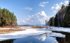 inverno, paesaggio, fiume, foresta, paesaggi, natura, inverno