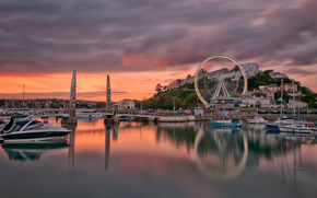 torquay, england, Torquay, England, bridge, boats, Yacht, bay