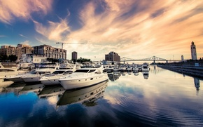 Trays, city, water, boats, river, Port