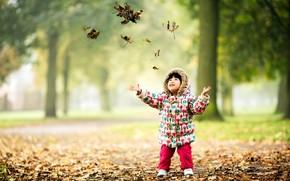 child, autumn, leaves, mood