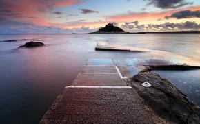 sea, lake, water, wharf, island, sunset, castle, asphalt